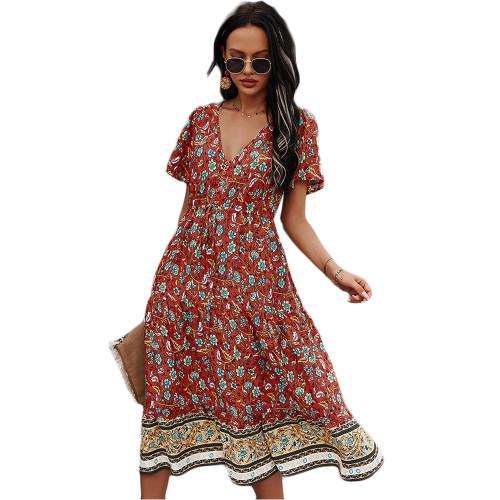 Red Short Sleeve V Neck Boho Dress TQK310530-3