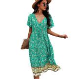 Green Short Sleeve V Neck Boho Dress TQK310530-9