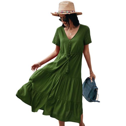Army Green Button Detail V Neck Drawstring Holiday Dress TQK310524-27