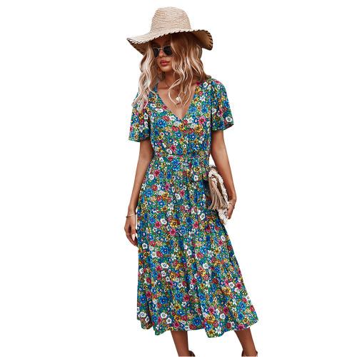 Green Floral Print V Neck Short Sleeve Dress TQK310529-9