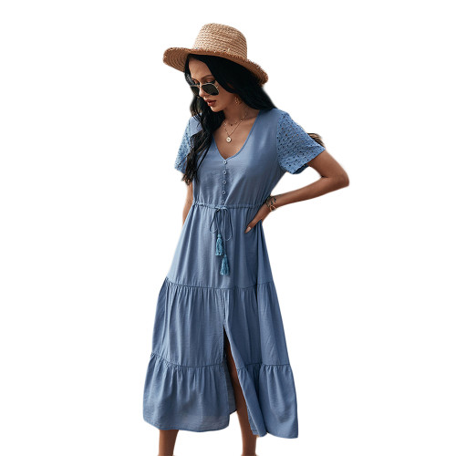 Blue Button Detail V Neck Drawstring Holiday Dress TQK310524-5