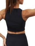 Black Simple Design Padded Comfort Yoga Bra TQE10106-2