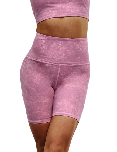 Rosy Digital Print Breathable 1/2 Length Yoga Shorts TQE10103-6