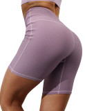 Pink Taupe 1/2 Length Breathable High Waist Yoga Shorts TQE10108-87