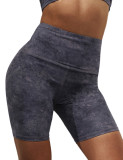 Gray Digital Print Breathable 1/2 Length Yoga Shorts TQE10103-11