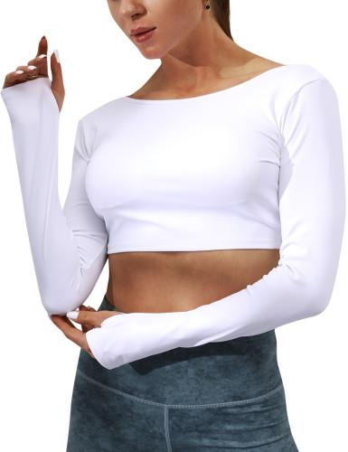 White Double-side Wear Long Sleeve Yoga Top TQE10100-1