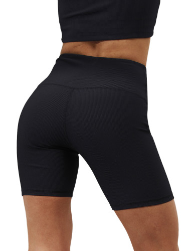 Black 1/2 Length Breathable High Waist Yoga Shorts TQE10108-2