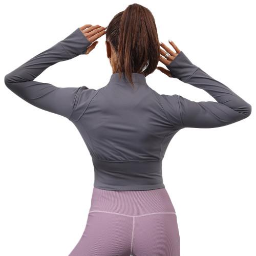 Dark Gray Front Zipper Mock Neck Yoga Jacket TQE10102-26