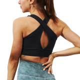 Black Back Cross Padded Yoga Bra TQE10101-2
