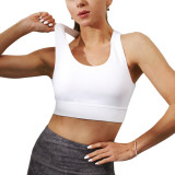 White Back Cross Padded Yoga Bra TQE10101-1