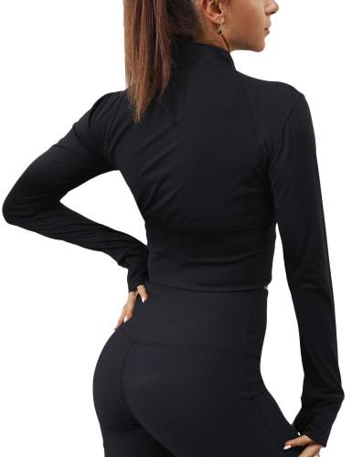 Black Front Zipper Mock Neck Yoga Jacket TQE10102-2