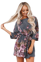 Gray Floral Lounge Tunic Dress LC454076-11