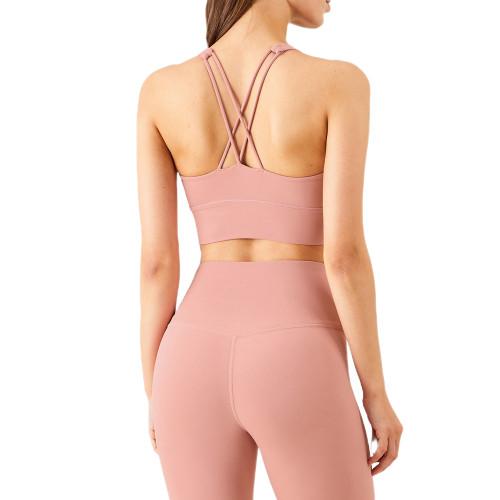 Pink Criss Cross Back Shockproof Yoga Vest Bra TQE17164-10