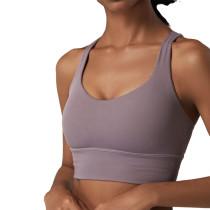 Purple Criss Cross Back Shockproof Yoga Vest Bra TQE17164-8