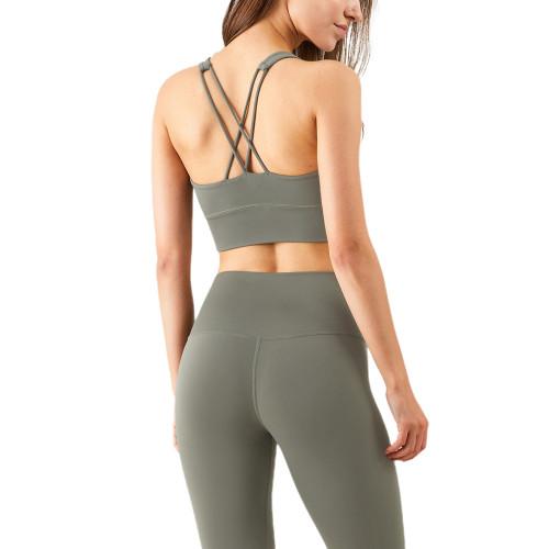 Mignonette Criss Cross Back Shockproof Yoga Vest Bra TQE17164-50