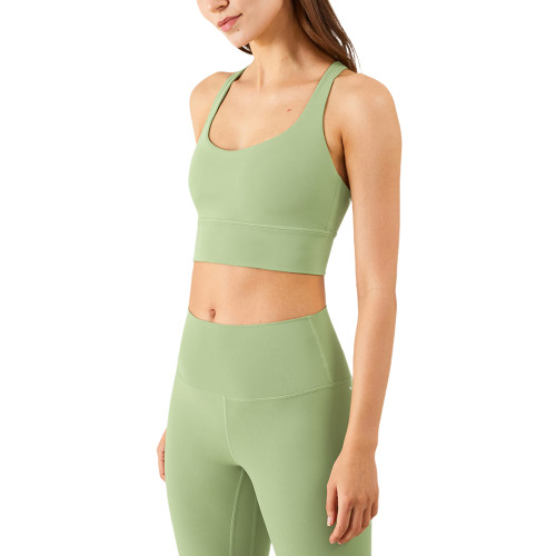 Green Criss Cross Back Shockproof Yoga Vest Bra TQE17164-9