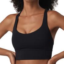 Black Criss Cross Back Shockproof Yoga Vest Bra TQE17164-2