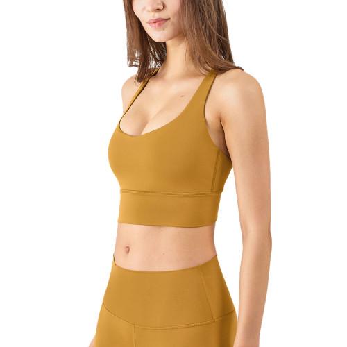 Yellow Criss Cross Back Shockproof Yoga Vest Bra TQE17164-7