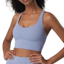 Ice Blue Criss Cross Back Shockproof Yoga Vest Bra TQE17164-215