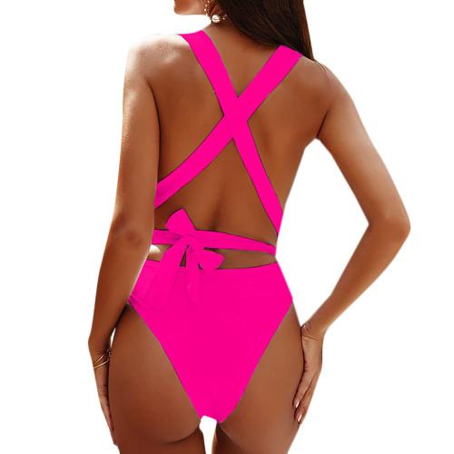 Rosy Deep V-neck Backless One Piece Swimwear TQK620127-6