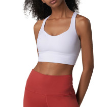 White Criss Cross Back Shockproof Yoga Vest Bra TQE17164-1