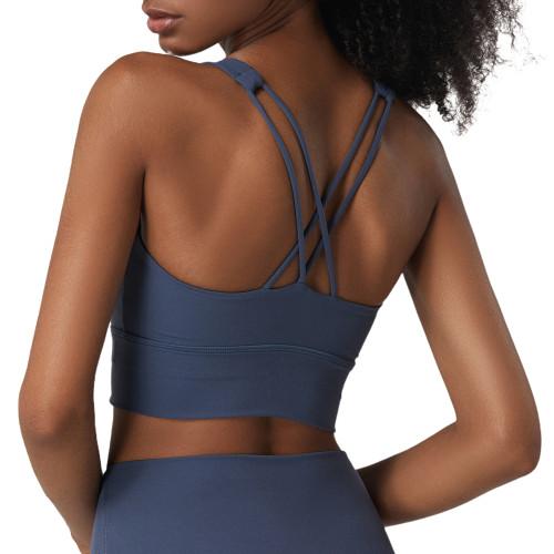 Slate Blue Criss Cross Back Shockproof Yoga Vest Bra TQE17164-55