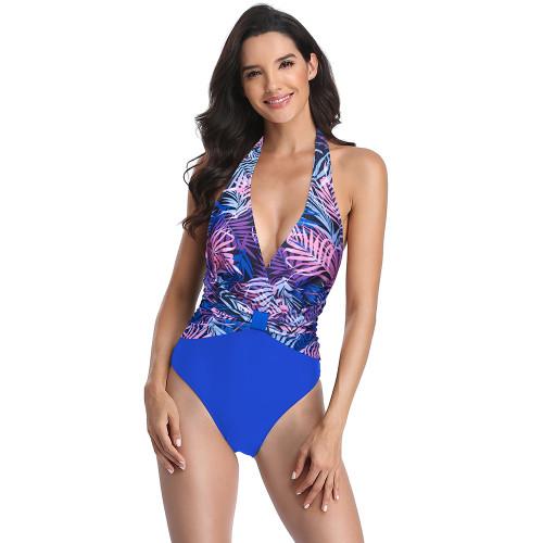 Blue Floral Print V Neck One Piece Swimsuit TQK620129-5