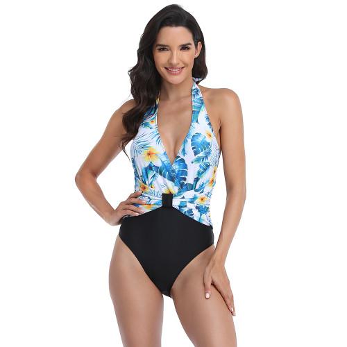 Light Blue Floral Print V Neck One Piece Swimsuit TQK620129-30