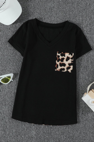 Black V Neck Leopard Splicing Kid Tee TZ25256-2
