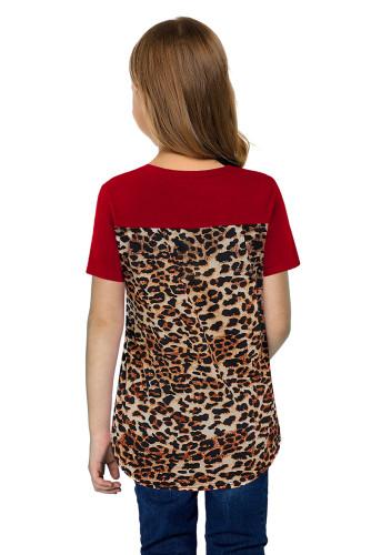 Red V Neck Leopard Splicing Kid Tee TZ25256-3