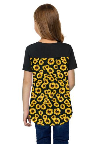 Black V Neck Sunflower Splicing Kid Tee TZ25256-7