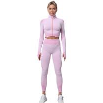 Pink Seamless Zipper Jacket with Pant Yoga Set TQK710295-10