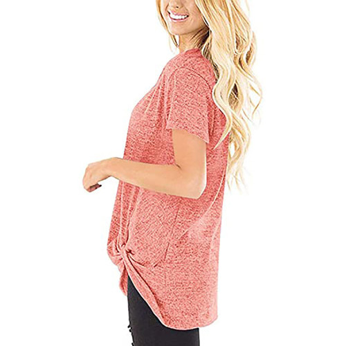Pink Knot Twist Front Short Sleeve Tunic Tops TQK210027-10