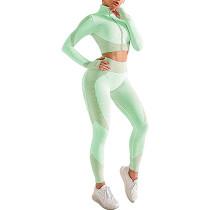 Light Green Seamless Zipper Jacket with Pant Yoga Set TQK710295-28
