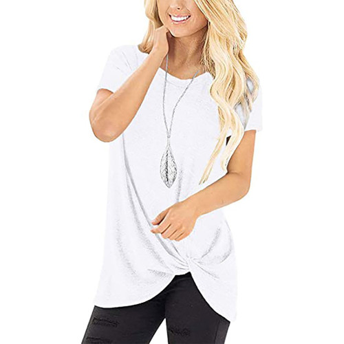 White Knot Twist Front Short Sleeve Tunic Tops TQK210027-1