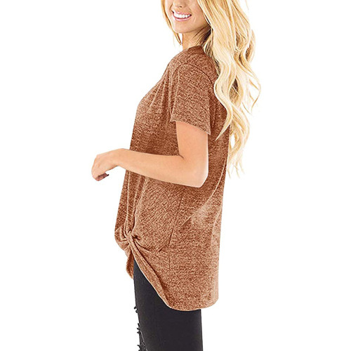 Brown Knot Twist Front Short Sleeve Tunic Tops TQK210027-17