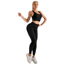 Black Seamless Yoga Sports Bra and Pant Set TQK710294-2