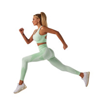 Light Green Seamless Yoga Sports Bra and Pant Set TQK710294-28