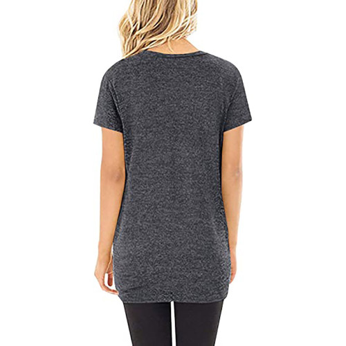 Dark Gray Knot Twist Front Short Sleeve Tunic Tops TQK210027-26
