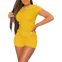 Yellow Tee with Tie Waist Pocketed Shorts Set TQK710299-7