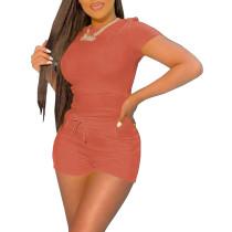 Orange Tee with Tie Waist Pocketed Shorts Set TQK710299-14