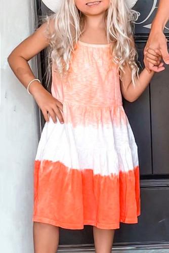 Orange Ombre Tie-dye Sleeveless Flowy Kids' Parent-child Dress TZ61162-14