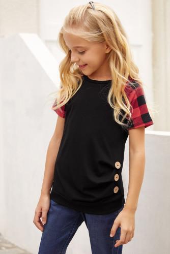 Black Plaid Raglan Sleeves Girls' Tee TZ25233-2