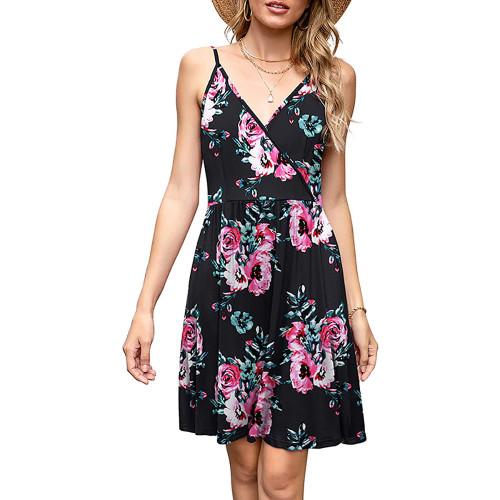 Black Floral Print V Neck Slip Dress TQK310531-2