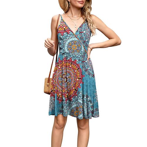 Aquamarine Bohemia Print V Neck Slip Dress TQK310531-45