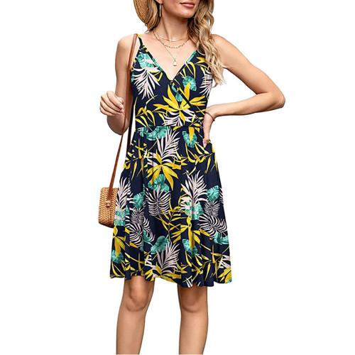 Yellow Leaf Print V Neck Slip Dress TQK310531-7
