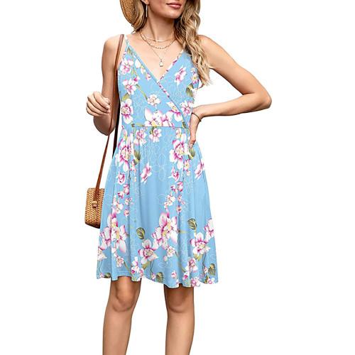Light Blue Floral Print V Neck Slip Dress TQK310531-30