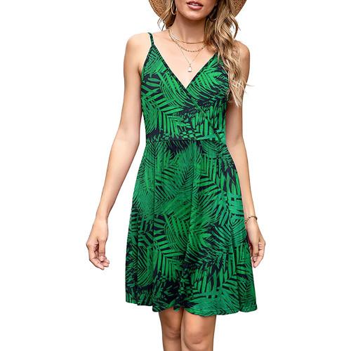 Green Leaf Print V Neck Slip Dress TQK310531-9