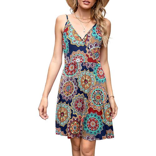 Multicolor Bohemia Print V Neck Slip Dress TQK310531-29