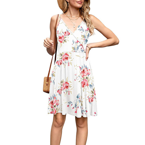 White Floral Print V Neck Slip Dress TQK310531-1